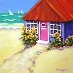 """Tiny Purple Cottage by the Sea - Beach Seashore"" by RebeccaKorpita"