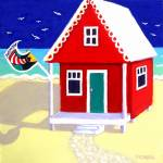 """Tiny Red Cottage by the Sea - Beach Seashore"" by RebeccaKorpita"