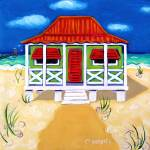 """Tiny Red Roof Cottage by the Sea - Beach Seashore"" by RebeccaKorpita"