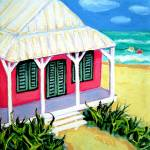 """Tiny Colorful Cottage by the Sea - Beach Seashore"" by RebeccaKorpita"