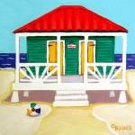 """Tiny Green Cottage by the Sea - Beach Seashore"" by RebeccaKorpita"