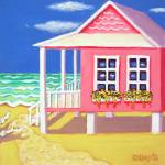 """Tiny Pink Cottage by the Sea - Beach Seashore"" by RebeccaKorpita"