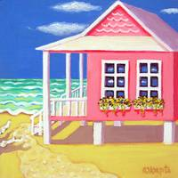 Tiny Pink Cottage by the Sea - Beach Seashore