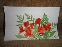 Red flowers in watercolor