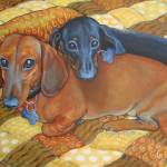 """Best Buds - Funny Red and Black Dachshund Dog"" by RebeccaKorpita"