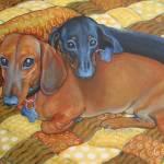 """Best Buds - Funny Red and Black Dachshund Dog"" by RebeccaKorpita"