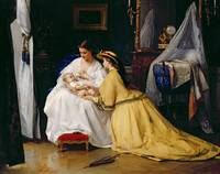 First Born, 1863 (oil on panel) by Gustave Leonard
