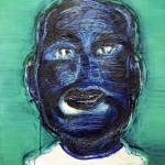 """Indigo Face on Glossy Green"" by julianhsiung"
