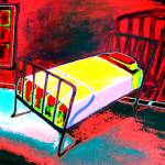 """Vacancy - Hotel Room Red Bedroom Iron Bed"" by RebeccaKorpita"