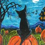 """Cat in pumpkin patch"" by paintingsbygretzky"