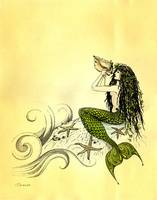 Mermaid Blowing a Queen Conch Shell by Savanna Redman