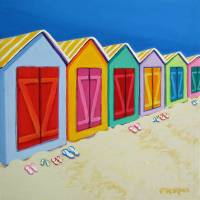 Cabana Row - Colorful Beach Cabanas Ocean Seashore Art Prints & Posters by Rebecca Korpita
