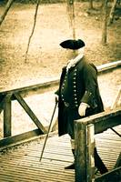 Officer Standing on a Bridge (sepia)
