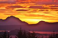 sunrise  over scottish mainland from skye