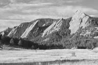 Flatirons Boulder Colorado Black and White Photo