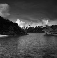 Bora Bora Seascape in Black and White