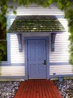 Blue Cottage Door in Early Fall