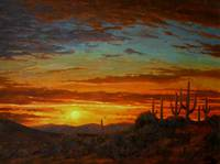 Realistic Desert Painting Senoran Sunset