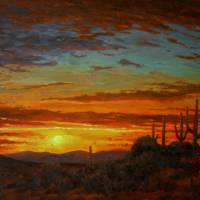 Realistic Desert Painting Senoran Sunset Art Prints & Posters by Kevin McCain