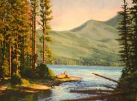 Impressionistic Painting of Mountain Lake Entitled