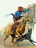 Wild West Shooter with Horse, Dog and Guns
