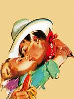 Wild West Lovers Kissing