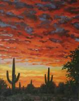 Plein Air Impressionist Painting Saguaro by Sunset