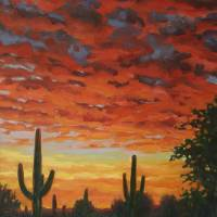 """Plein Air Impressionist Painting Saguaro by Sunset"" by kevinmccain"