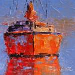 """Reflections on the Orange Boat"" by LeslieSaetaFineArt"