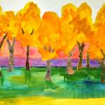 """Tree Art Color Field Painting, Forte Forest"" by schulmanart"