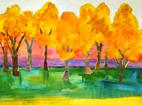 Tree Art Color Field Painting, Forte Forest