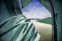 Looking past the Statue of Liberty Shoulder