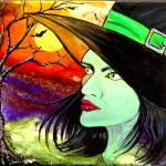 """Brittany the Beautiful Green Witch ~ by GG Burns"" by ggsfunctionalart"