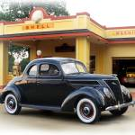 """1937 Ford Coupe, Vintage Shell Gas Station"" by minnron37"