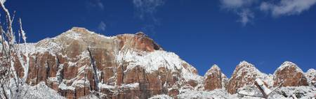 snowy west temple zion national park utah