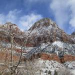 """snowy bridge mountain arch zion national park utah"" by vandezy"