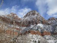 snowy bridge mountain arch zion national park utah