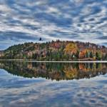 """Gull Flying,Peak Fall Colors Reflected,Cloud & Sky"" by Chantal"
