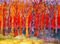 Abstract Mixed Media Collage, Tree Tunes