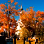 """New England Style Church,Orange Fall Autumn Leaves"" by Chantal"
