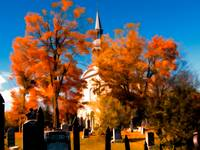 New England Style Church,Orange Fall Autumn Leaves