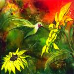 """Hummingbird with Sunflower by GG Burns"" by ggsfunctionalart"