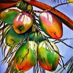 """Palm tree with coconuts."" by donnabonavia"