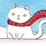 """White Cat in the Snow"" by zoe"