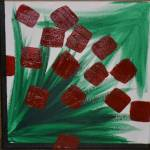 """Red & Green Abstract"" by JustineGersich"