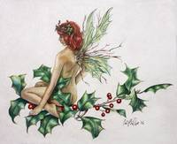 Holly Fairy holiday art print