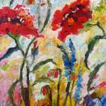 """Impressionist Red Poppies Floral Oil Painting"" by GinetteCallaway"