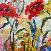Impressionist Red Poppies Floral Oil Painting Art Prints & Posters by Ginette Callaway