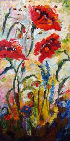Impressionist Red Poppies Floral Oil Painting