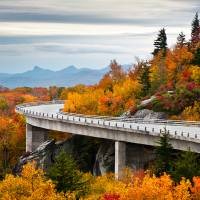 Linn Cove Viaduct - Blue Ridge Parkway Fall Foliag Art Prints & Posters by Dave Allen